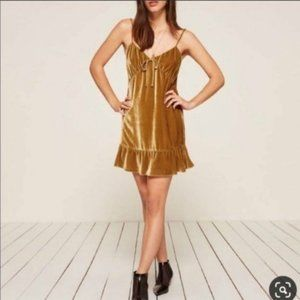 Reformation Gold Polly Mini Dress size XS